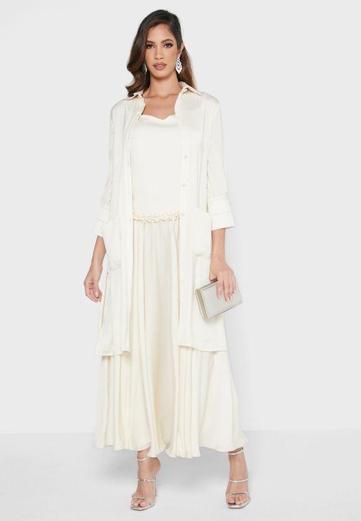 Silk Dress with Cardigan