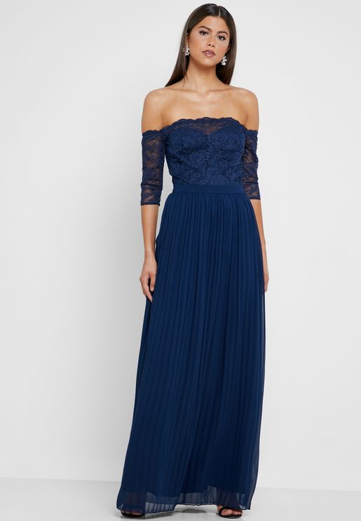 Bardot Lace Pleated Dress