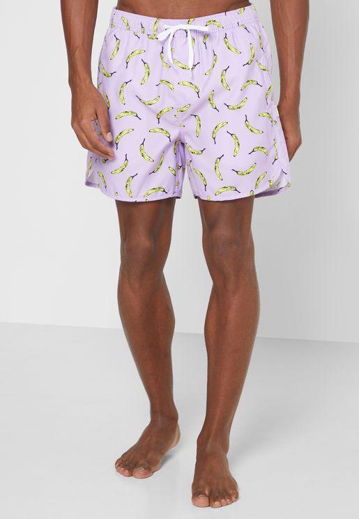 Bananas Print Swim Shorts
