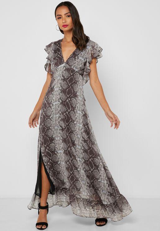 Front Split Snake Print Maxi Dress