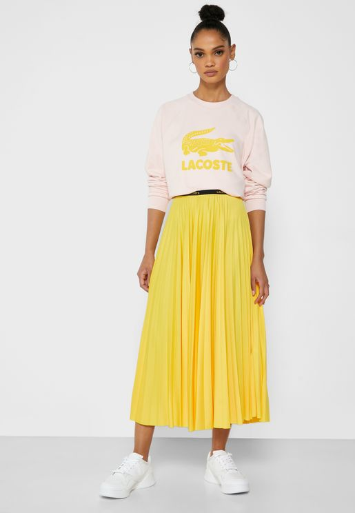 Logo Band Plisse Skirt
