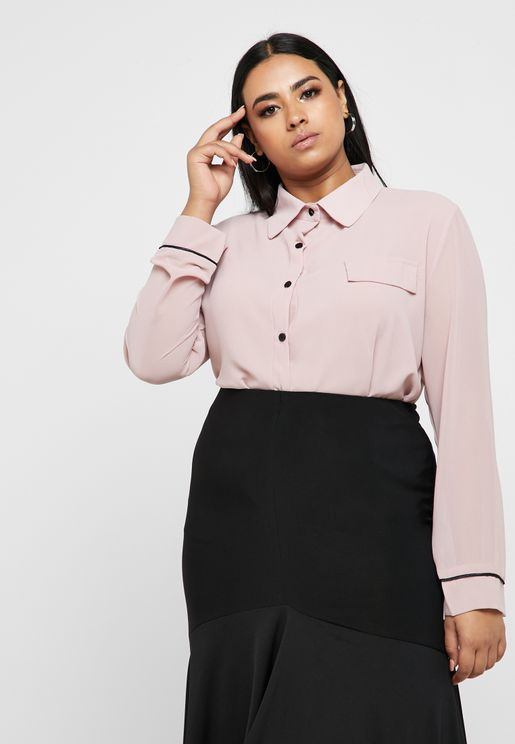 Contrast Piping Cuffed Shirt
