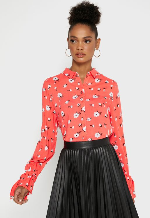 Floral Print Flute Sleeve High Low Shirt