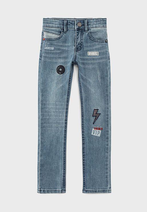 Kids Logo Light Wash Jeans