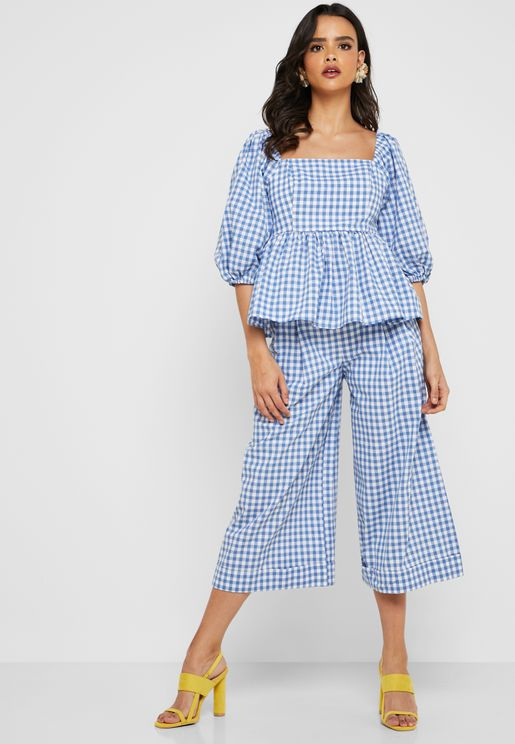 Gingham Pleated Culottes