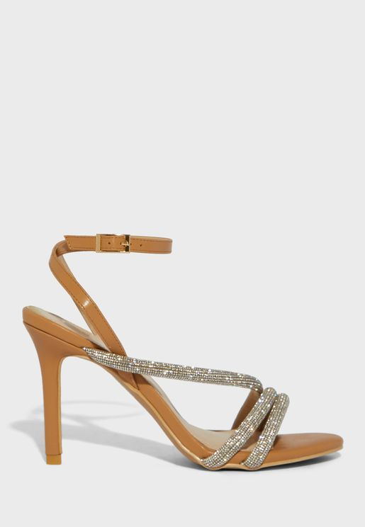 Twisted Diamante Strap Stiletto Ankle Strap Sandal