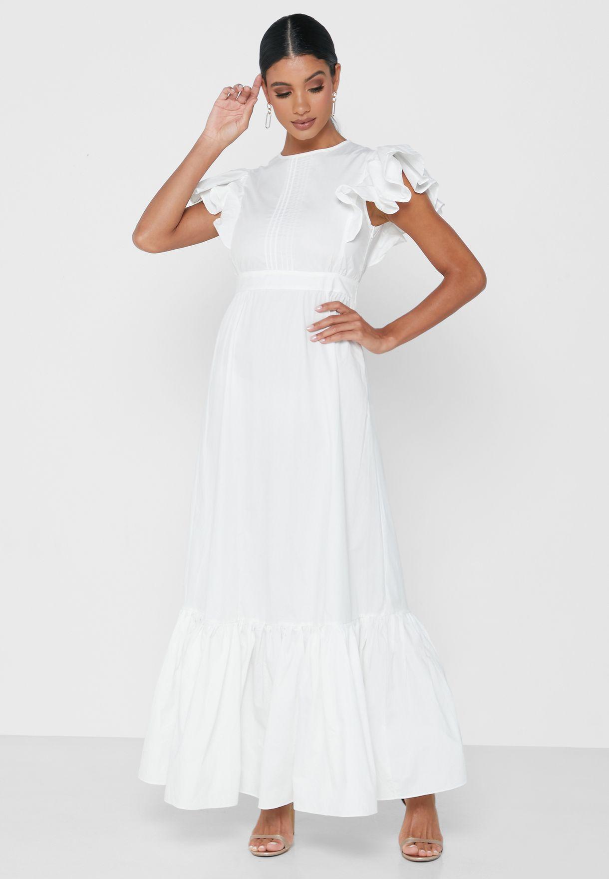 فستان ماكسي مزين بكشكش