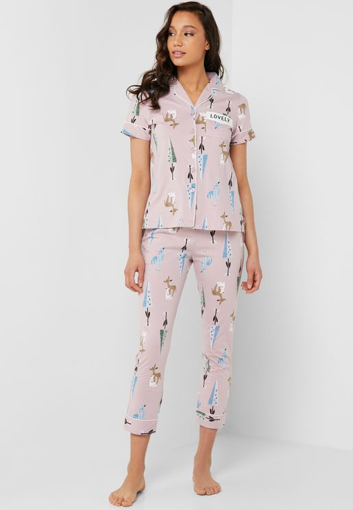 Slogan Chest Pocket Printed Shirt Pyjama Set
