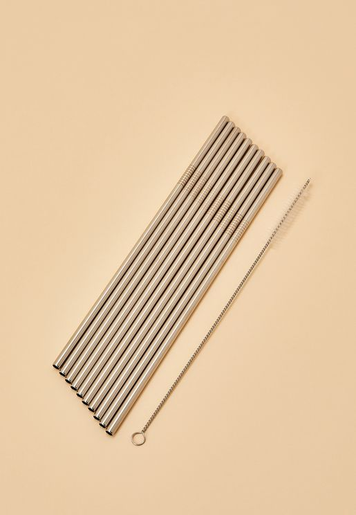 10 Pack Stainless Straw