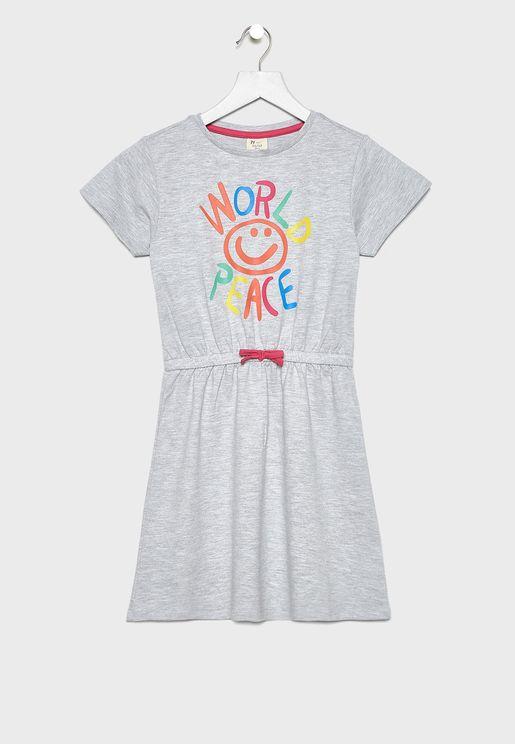 Kids Knot Detail Graphic Dress
