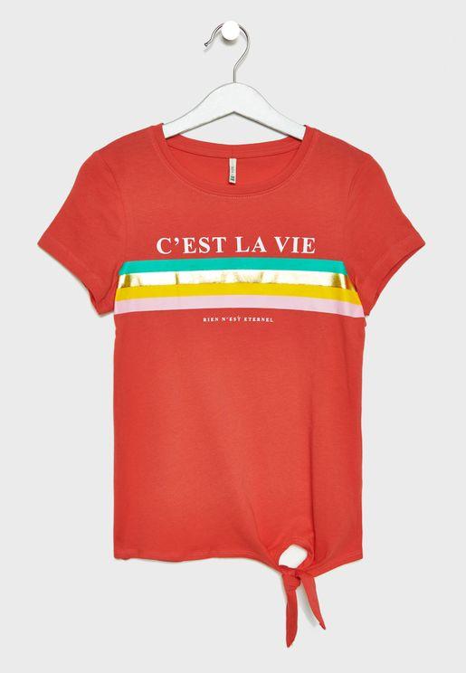 Kids Cest La Vie Slogan T-Shirt