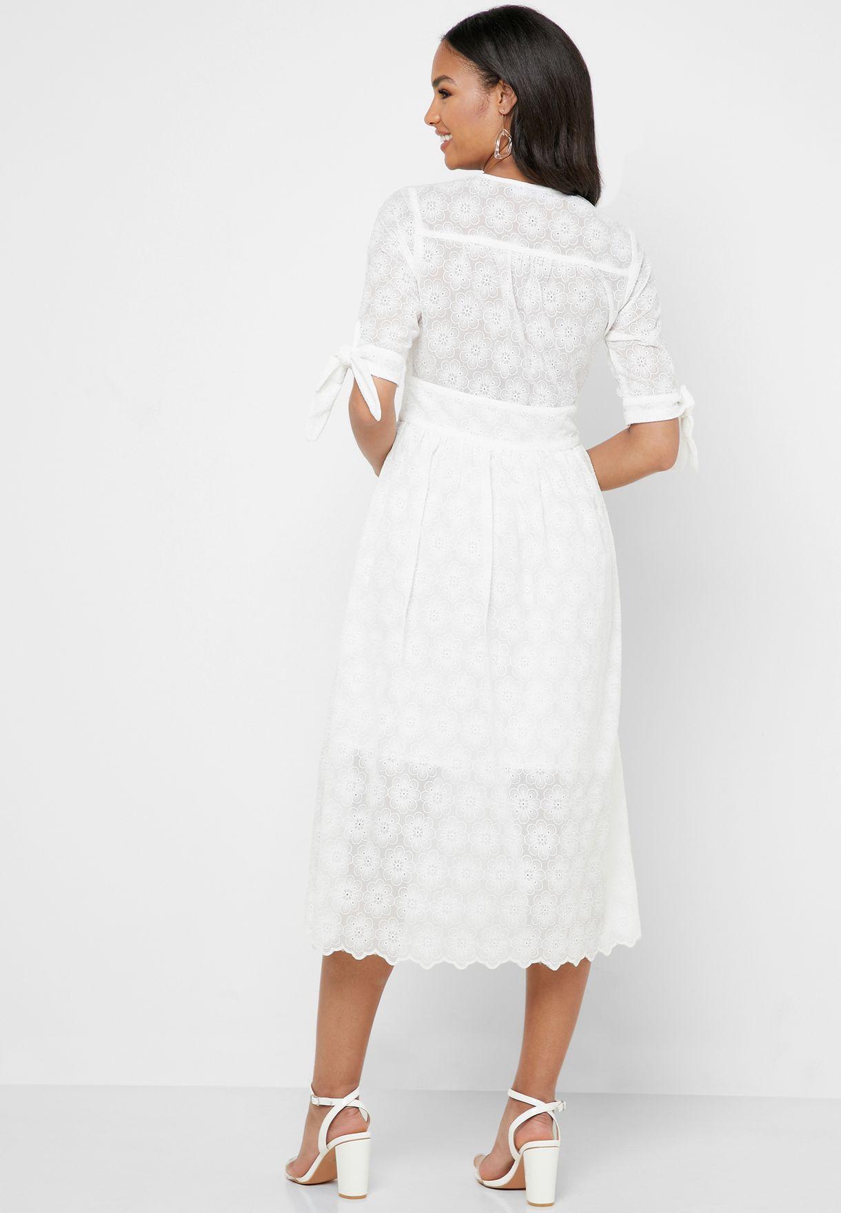 Tie Sleeve Lace Detail Dress