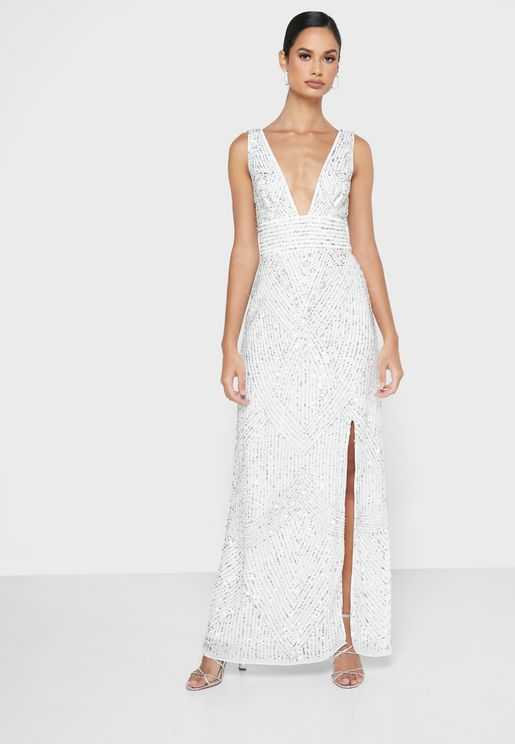 Embroidered Plunge Maxi Dress