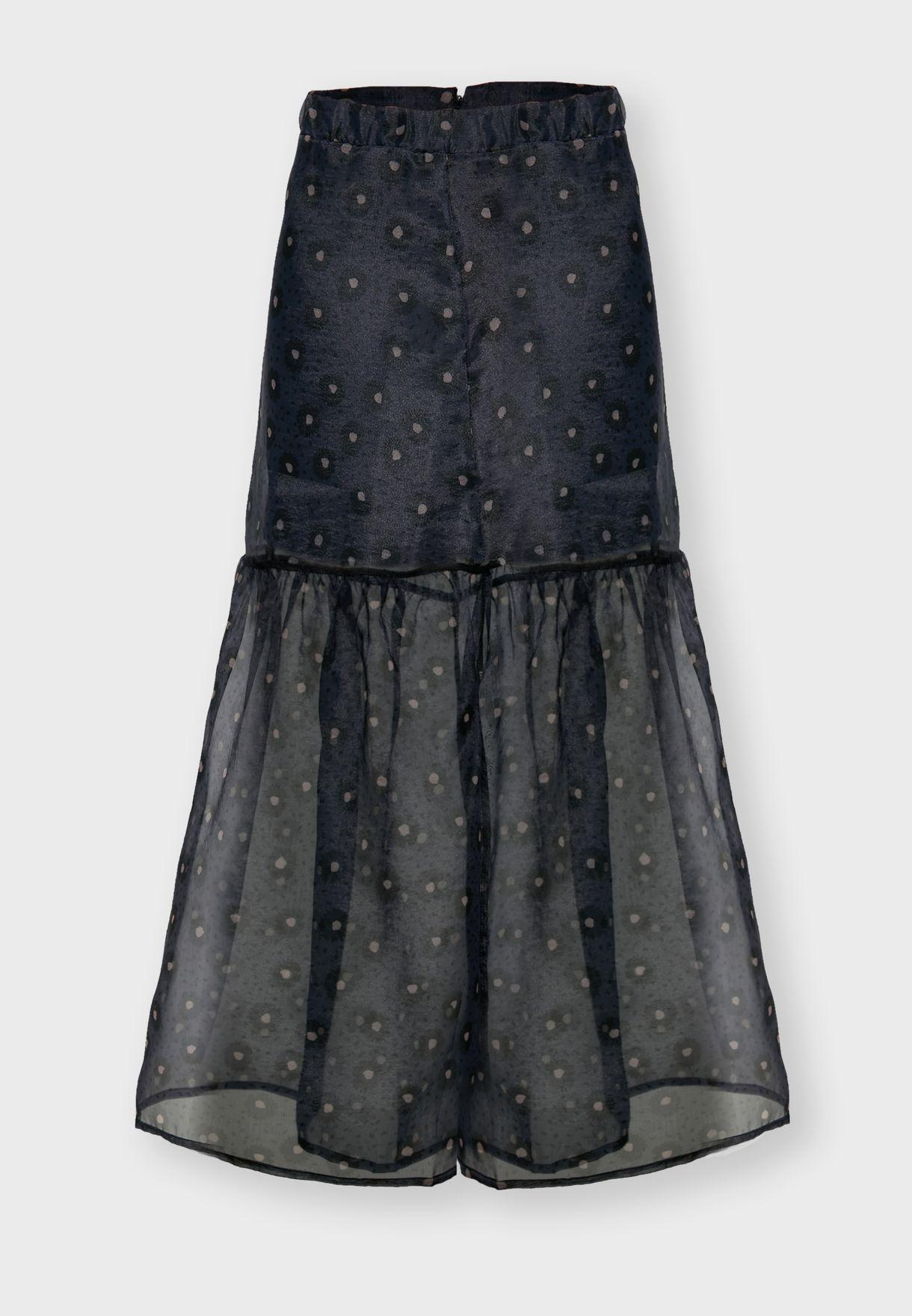 Printed Mesh Overlay Midi Skirt