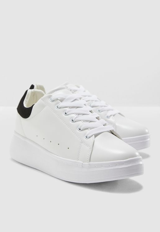 White With Black Suedette Classic Sneakers