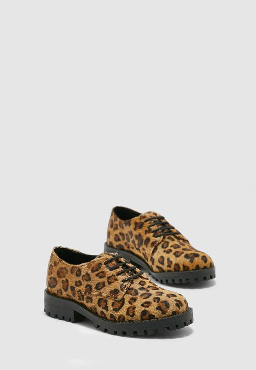 Kids Leopard Print Lace Up