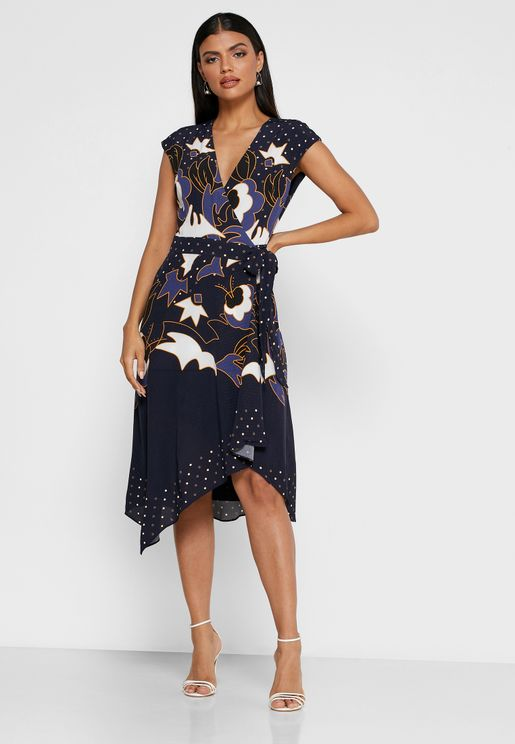 Saretti Asymmetric Printed Dress