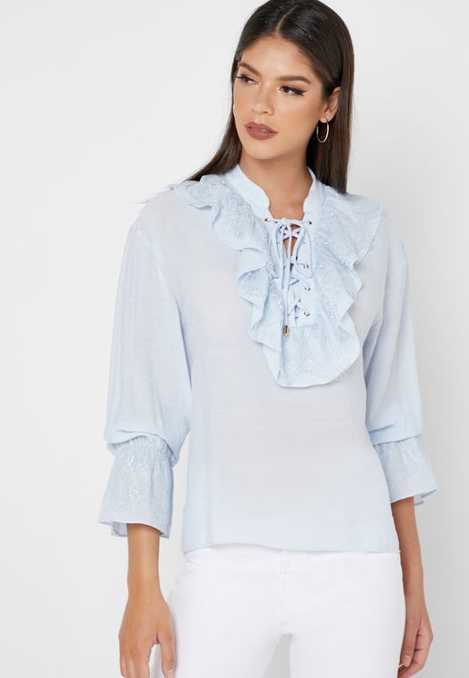 Ruffle Lace Up Shirt