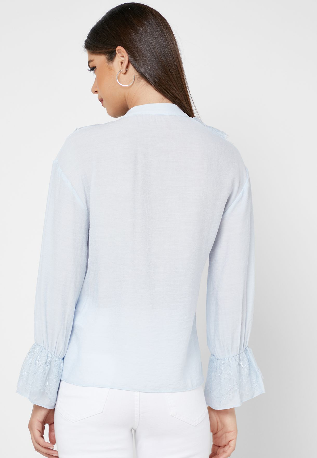 Ruffle Lace Up Shirt