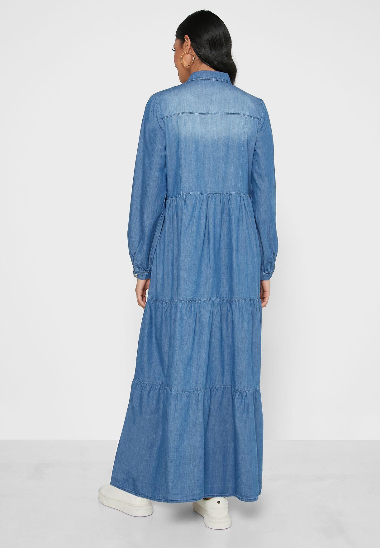 Button Detail Tiered Denim Dress