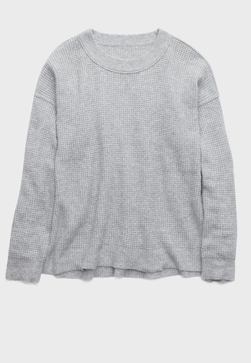 Waffle Round Neck Sweatshirt