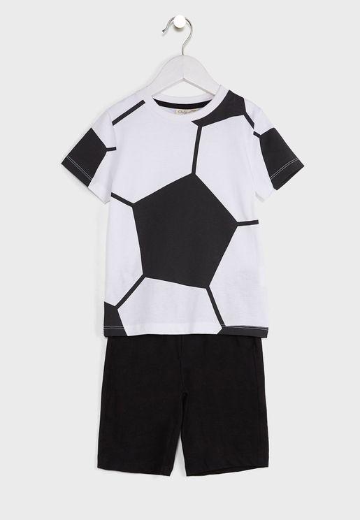Football Print T-Shirt + Shorts Set