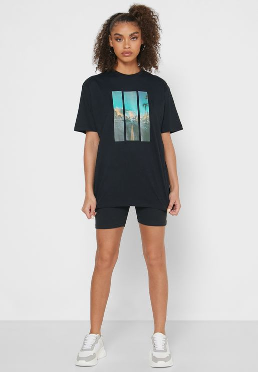 Oversized Photographic T-Shirt Shorts Set