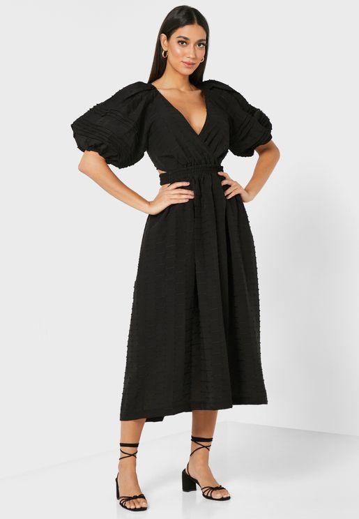 Wide Sleeve Plunge Dress