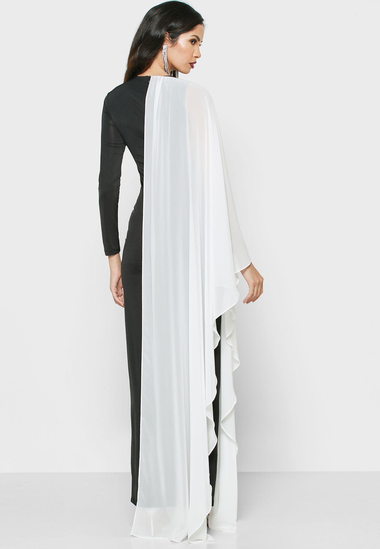 فستان ماكسي بنمط متناصف