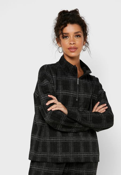 Checked Zip Detail High Neck Sweat Top
