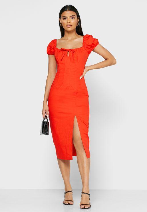 Tutti Frutti Side Slit Puff Sleeve Dress