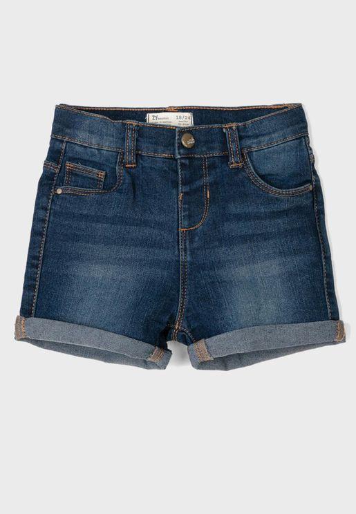 Kids Folded Hem Denim Shorts