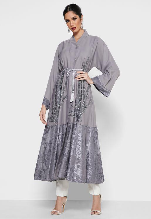 Embellished Patterned Trim Tassel Abaya