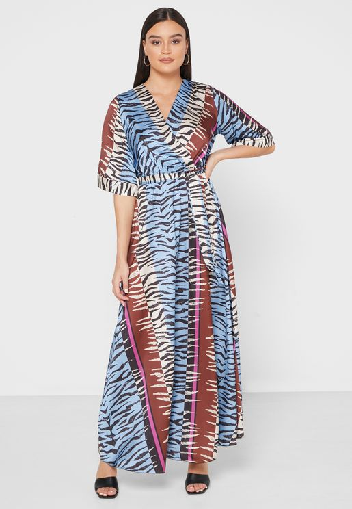 Zebra Print Wrap Front Maxi Dress