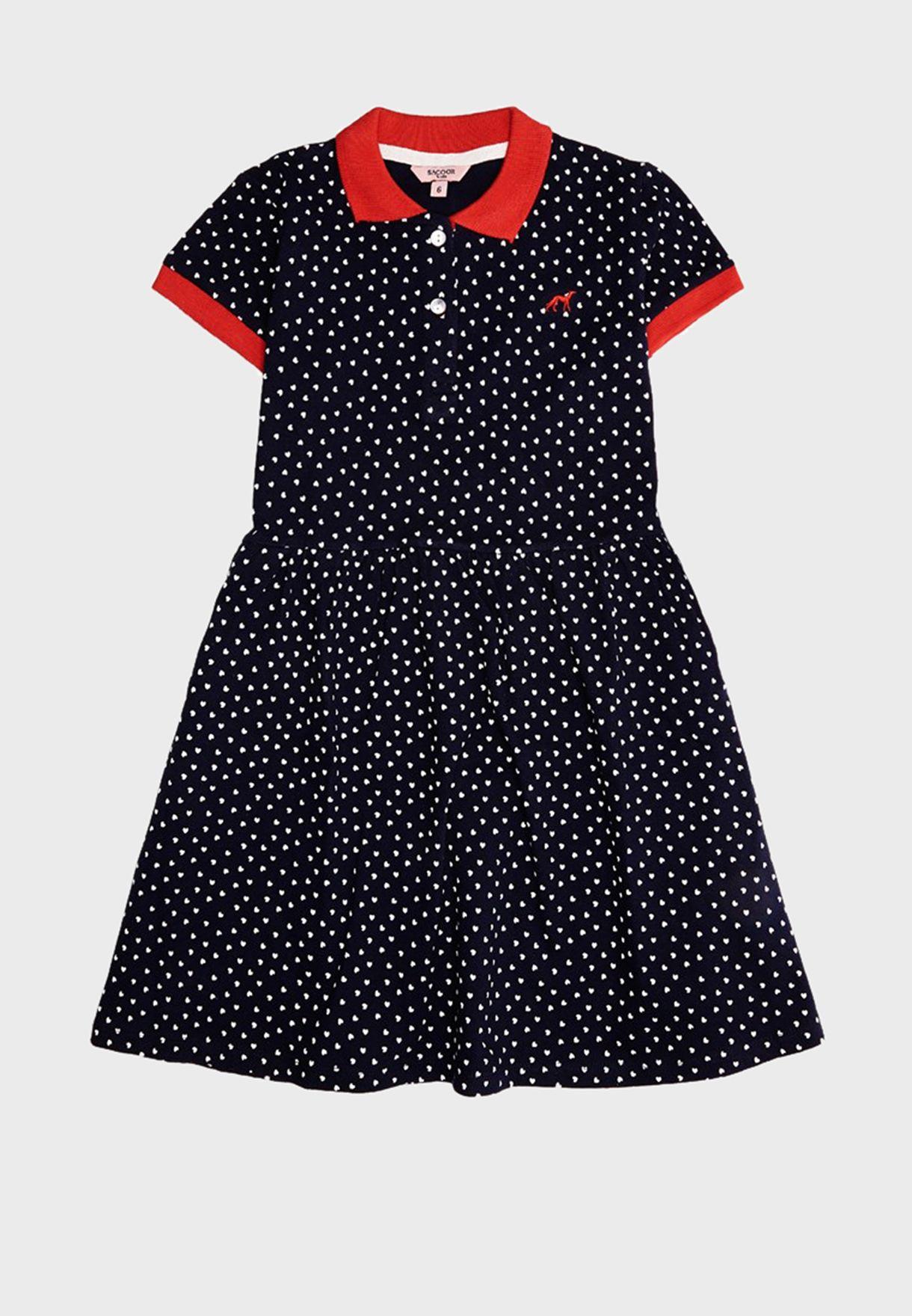 فستان بولو بطباعة قلوب للاطفال