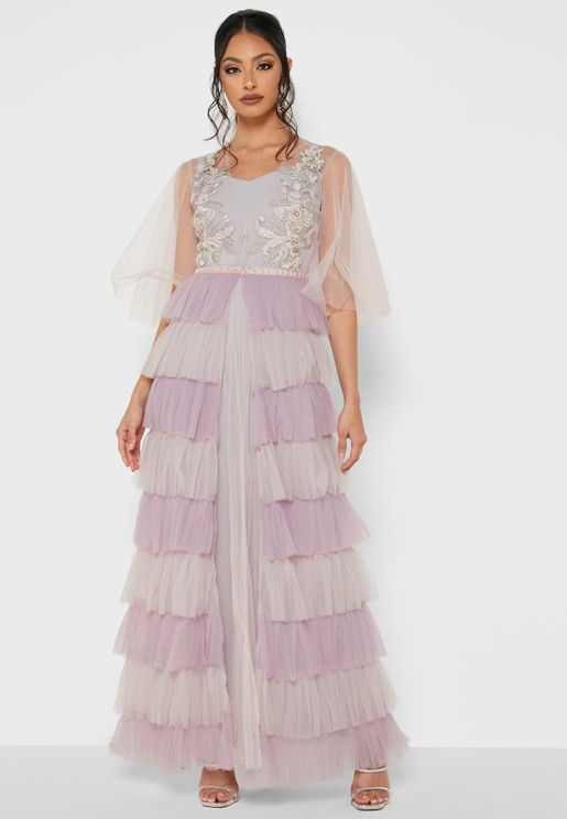 Yolk Embroidered Frilled Layered Dress