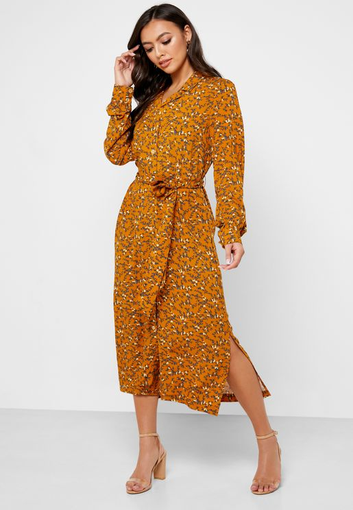 Button Down Printed Shirt Dress