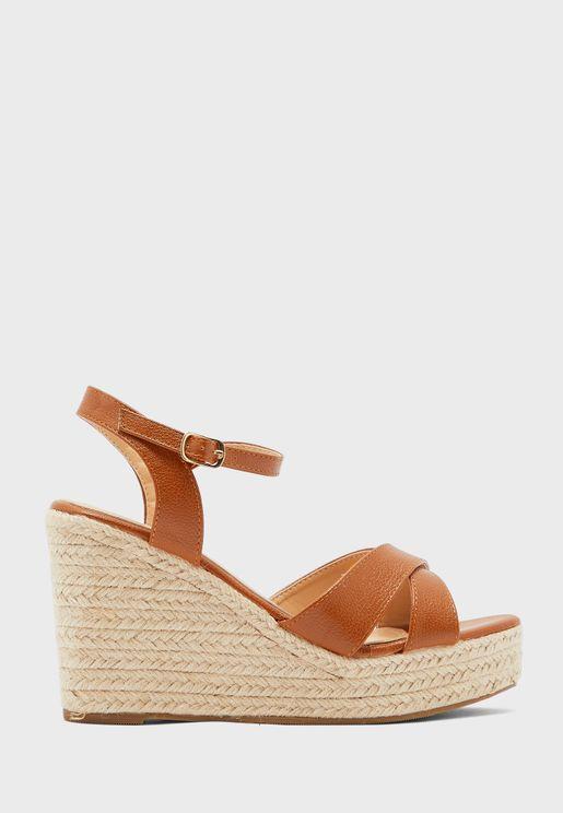 Cross Strap Espadrille Wedge Sandals