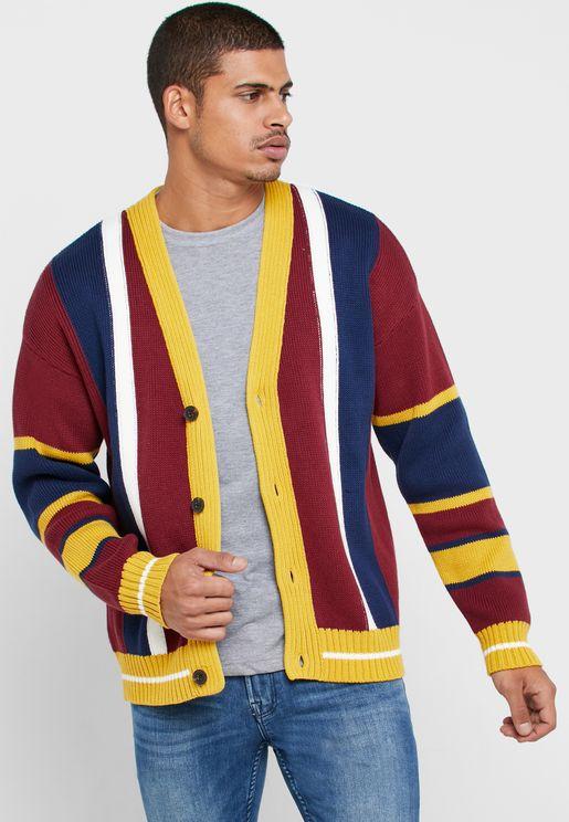 Striped Button Detail Cardigan