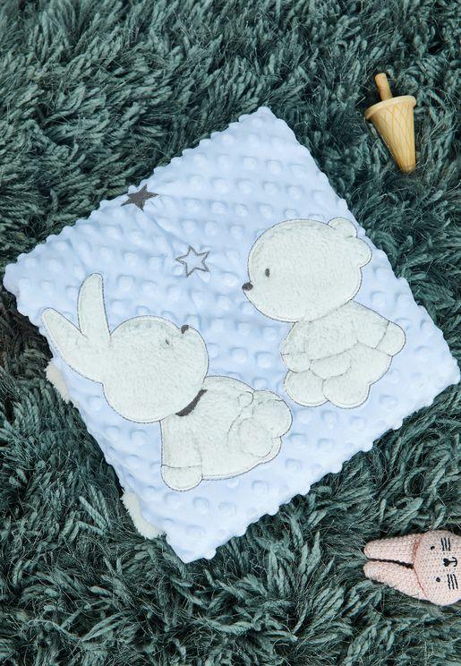 Applique Bunny Waffle Blanket