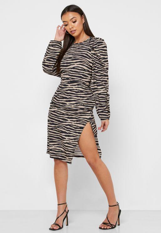 Puff Sleeve Side Split Dress