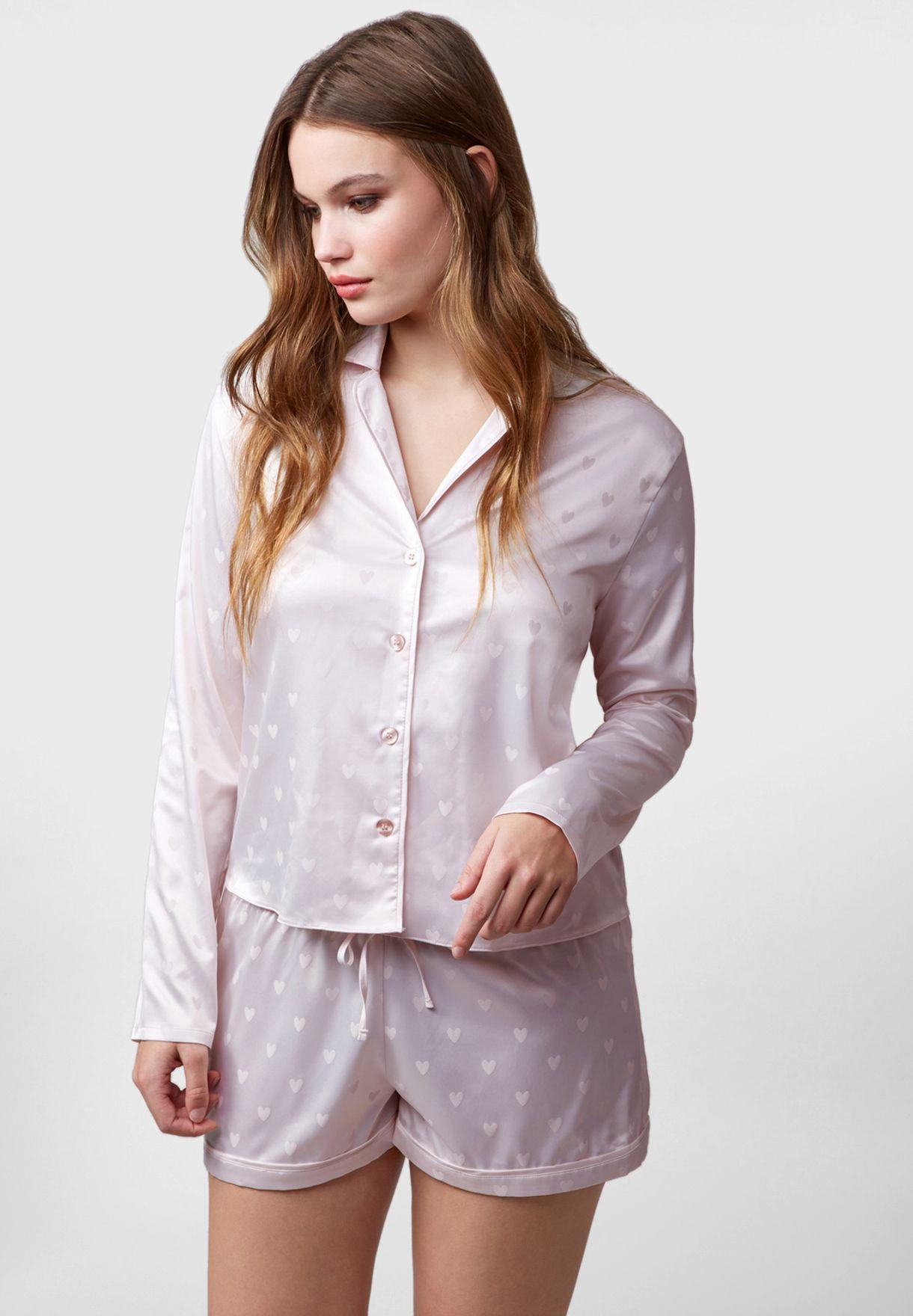 Jacquard Button Down Shirt & Shorts Set