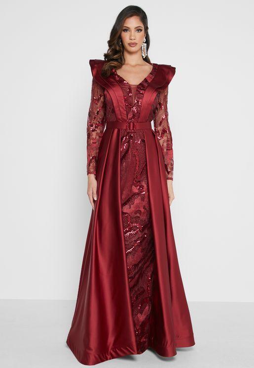 Ruffle Pleated Lace Detail Dress