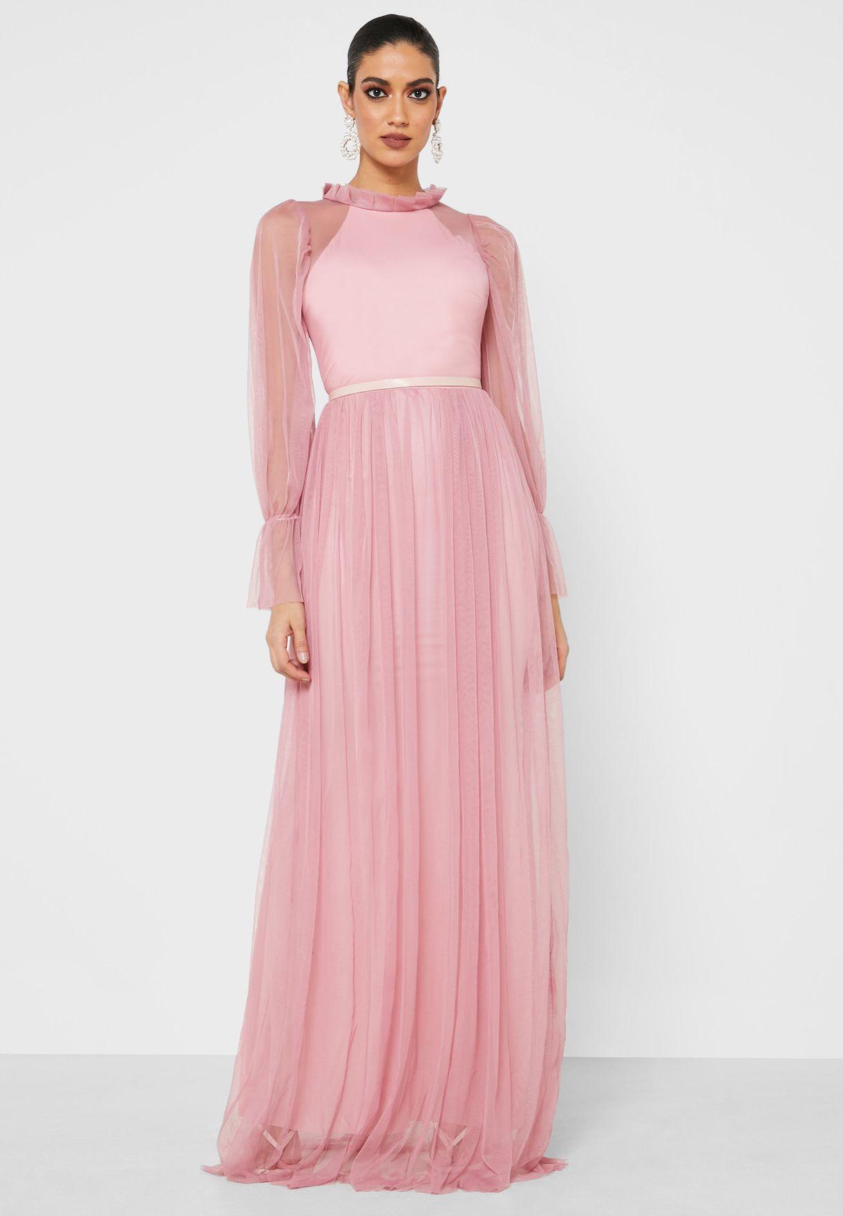 Mesh Overlay High Neck Maxi Dress