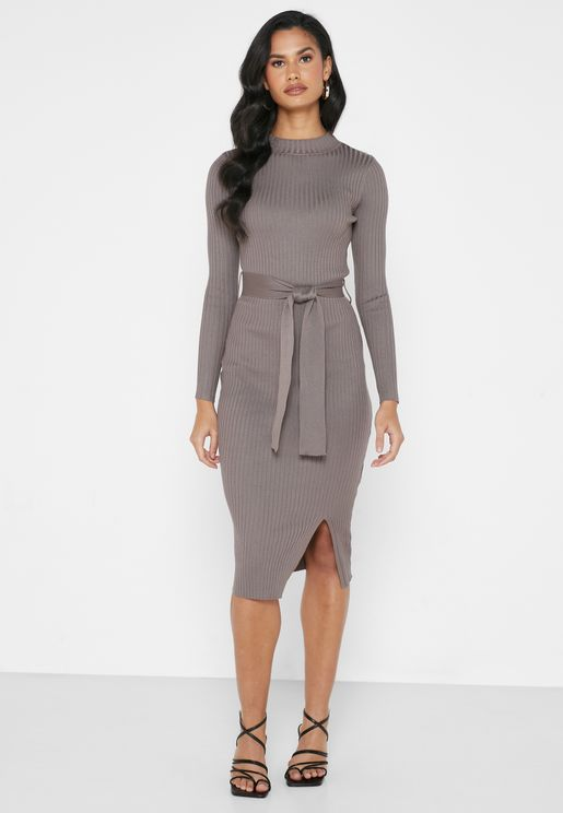 Tie Waist Ribbed Midi Dress