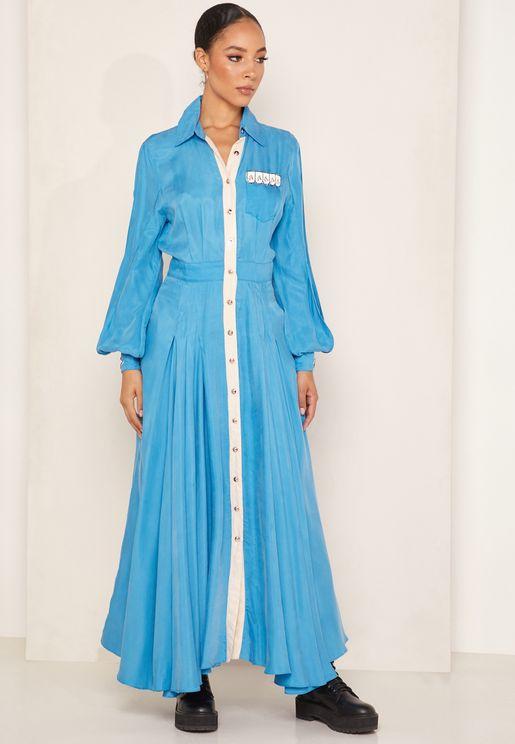 Caro Embellished Maxi Shirt Dress