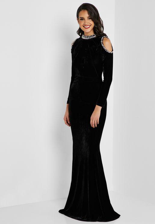 Embellished Cold Shoulder Velvet Maxi Dress