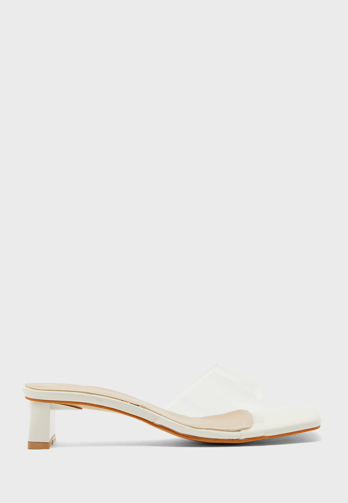Clear Strap Square Toe Mule