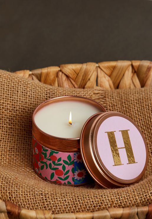 H Initial Floral Candle