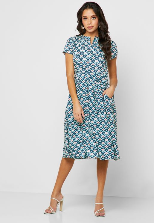 Printed Split Neck Dress